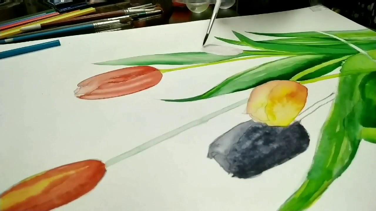 تعلم الرسم كيف ترسم منظر طبيعي سهل جدا بـ 3 الوان فقط رسم الوان مائيه منظر شروق Indie Drawings Art Drawings Simple Heart Art Projects