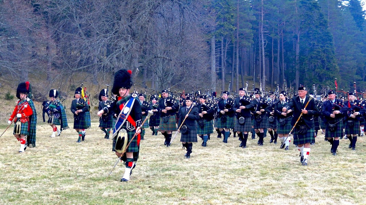 Download Massed Pipes and Drums of the Scottish highlands gather in Deeside for first parade of 2018
