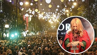 Kylie switches on Oxford Street Xmas lights