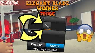 ELEGANT BLADE WINNER TRADE! *MOST CRAZY TRADE EVER YET!* (ROBLOX ASSASSIN ELEGANT BLADE WIN TRADE!!)