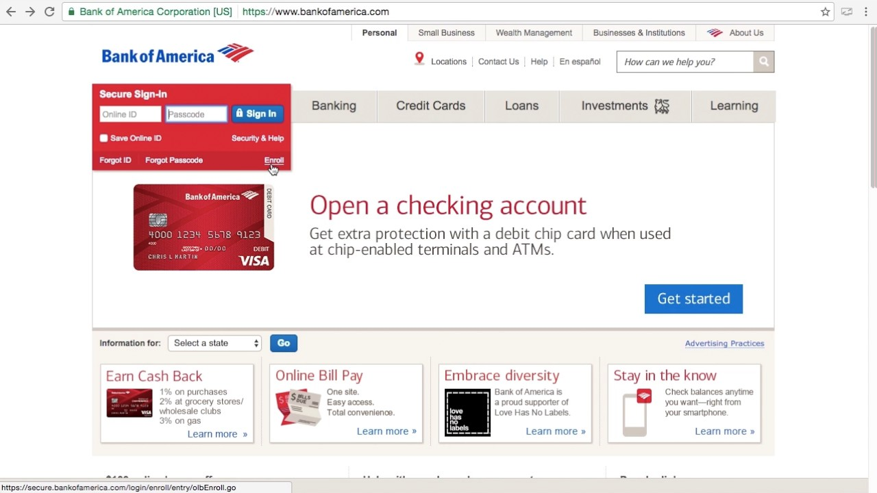 Bank Of America Online Banking Login Sign In Nick Bails Youtube