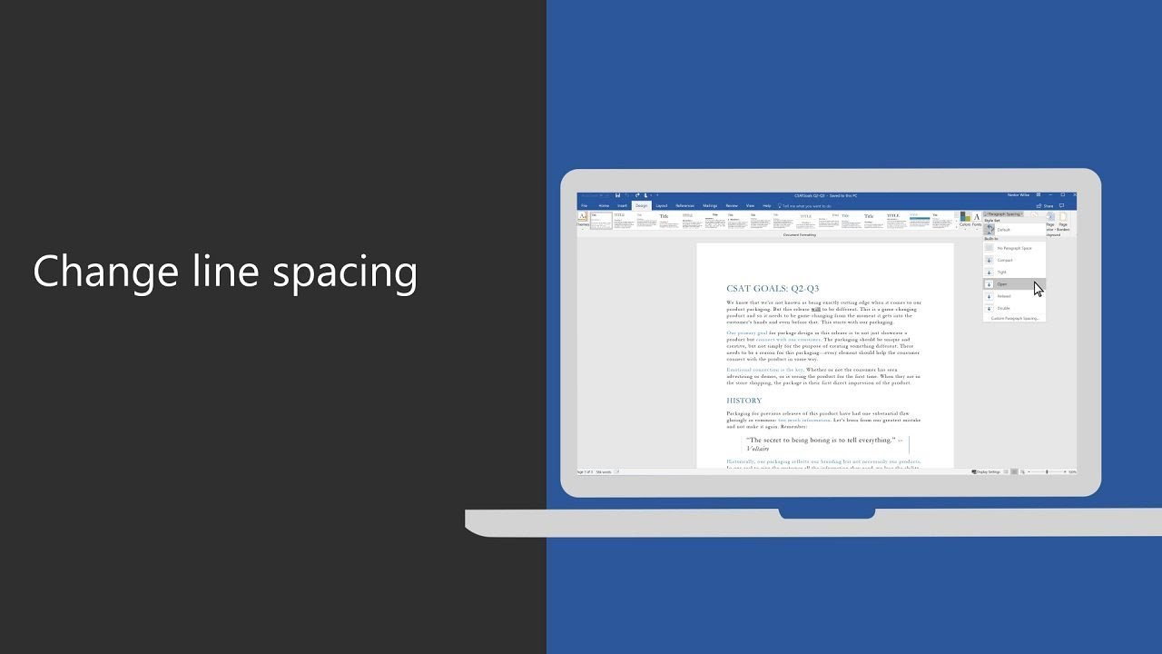 Change line spacing in Microsoft Word