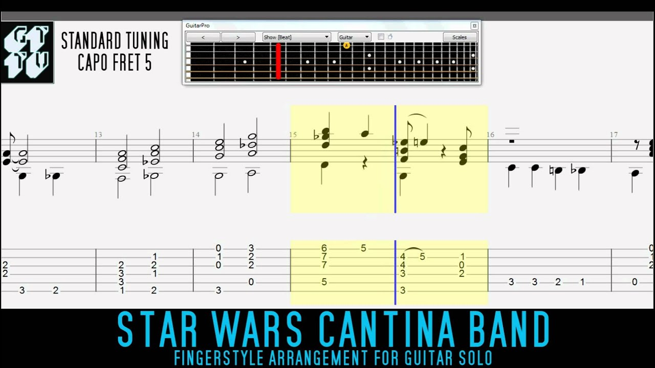 CANTINA BAND Star Wars Theme Fingerstyle Acoustic Guitar TABS - YouTube