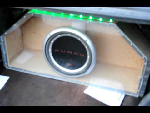 My plexiglass Front woofer box in the car 1 - YouTube