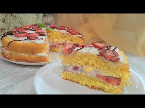 Клубничный торт (бисквит с клубникой) со сметанным кремом рецепт, как приготовить.