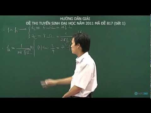 Giải đề thi đại học năm 2011 khối A môn Lý