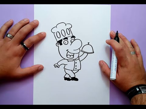 Como dibujar un cocinero paso a paso | How to draw a cook