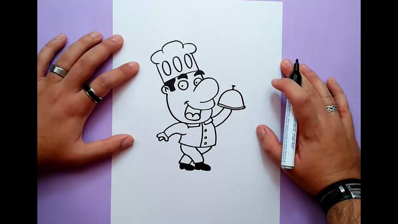 Como dibujar un cocinero paso a paso how to draw a cook for Herramientas de un cocinero