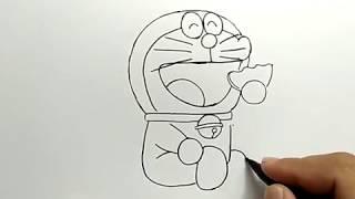 cara menggambar doraemon dengan mudah / how to draw easy doraemon
