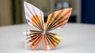 Geldgeschenk Idee: Schmetterling falten, Euroscheine