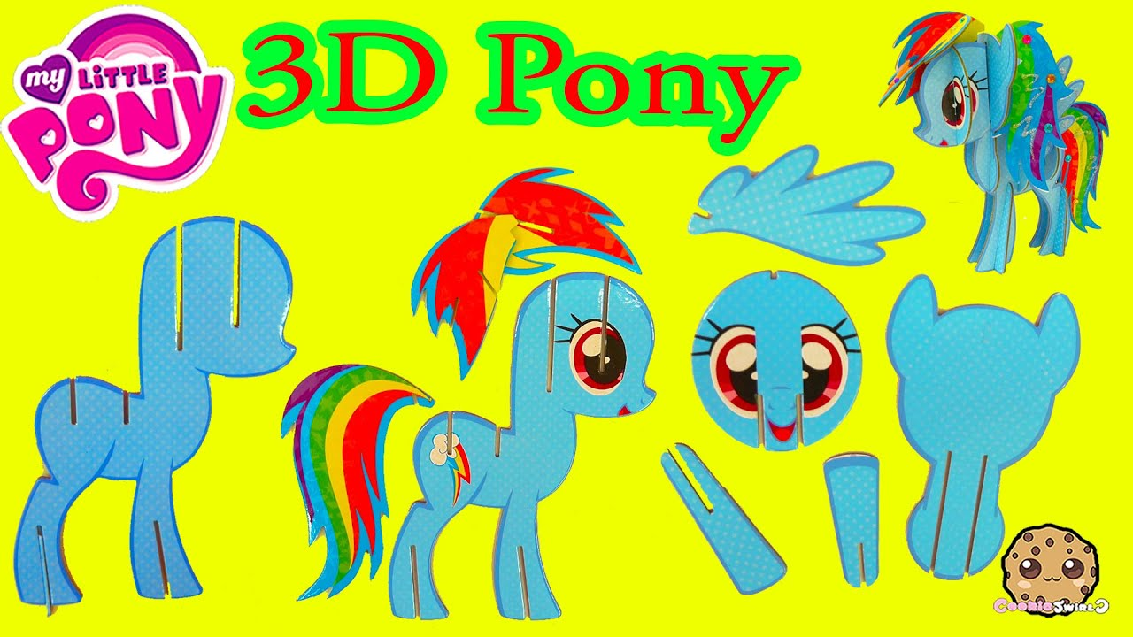 create build a 3d my little pony rainbow dash mlp craft kit