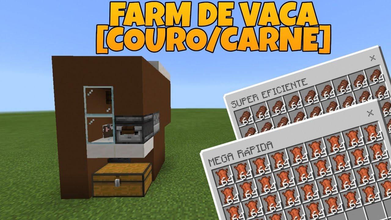 Minecraft: Como Fazer Farm De Vaca [Couro/Carne] - COMIDA INFINITA e SEMI AUTOMÁTICA  Tutorial 