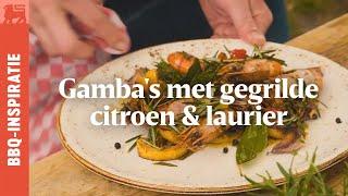 Gamba's met gegrilde citroen & laurier - Grillhacks