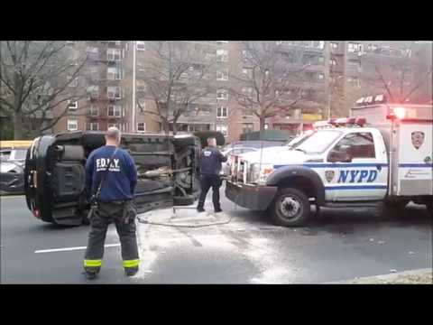 Speeding Car On Ocean Pkwy Flips Over After Hitting 3 vehicles