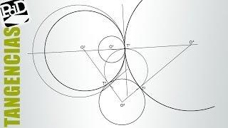 Circunferencias tangentes a dos circunferencias conociendo un punto de tangencia (potencia).