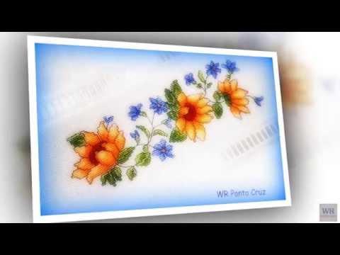 Toalha flores ao vento ponto cruz