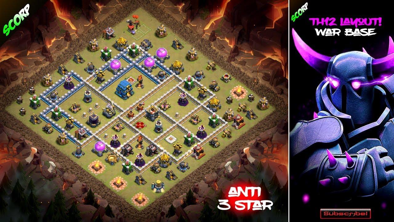 TH12 War Base 2018 Anti 3 Star Layout - Weekly War Bases