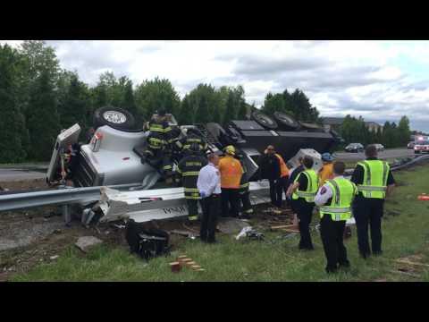 Crane overturns on Route 1 in Bear, Delaware