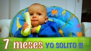 beb 7 meses come pltano entero l solo blw 7 months old baby eating banana