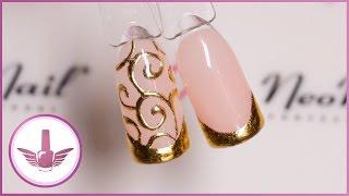 Дизайн ногтей: Френч литье | Французский маникюр с завитками | NeoNail