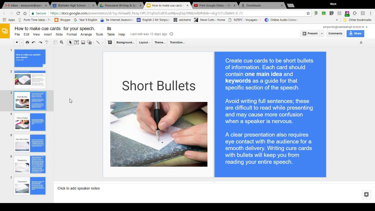 Using Google Slides To Make Cue Cards For Your Speech