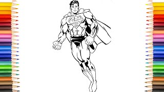 SUPERMAN Coloring Pages | Color Superman With New Suit Color Coloring Pages