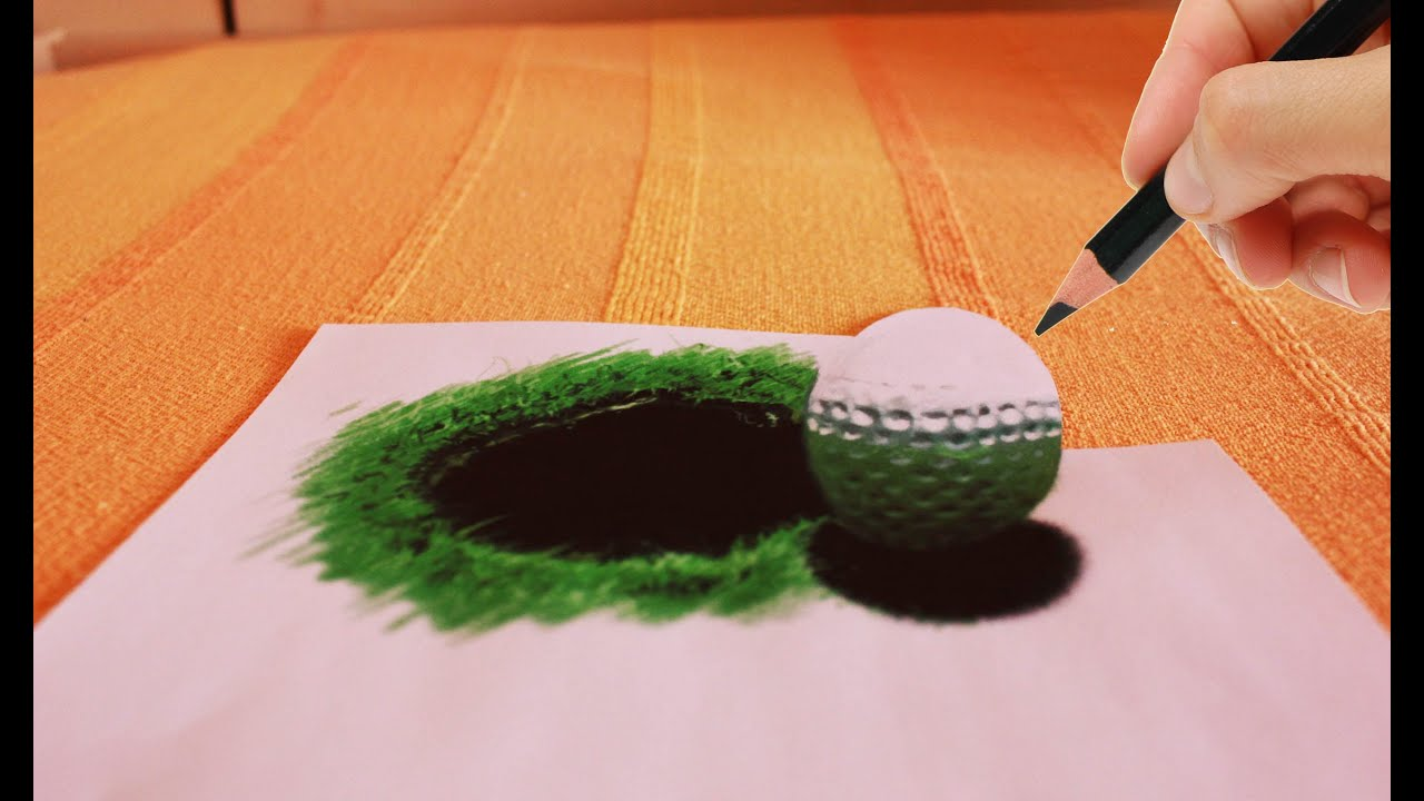 AMAZING Anamorphic 3d drawing (golf ball and black hole ...