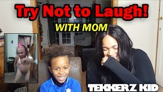 One of Tekkerz kid's most viewed videos: Try Not To Laugh Challenge with Mom !! | You Pick the Forfeit!!