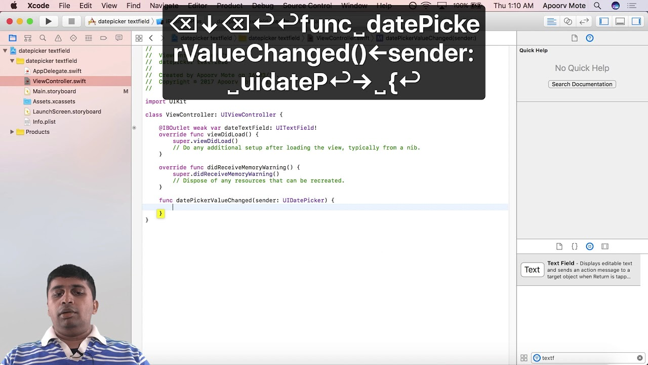 Use Datepicker As Input To Uitextfield In Swift Youtube