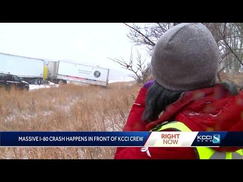 KCCI Crew Witnesses Multi-vehicle Crash On 1-80