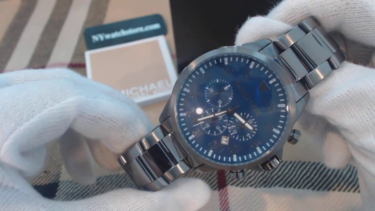64389d453ce7 Men s Michael Kors Gage Steel Chronograph Watch MK8443 - YouTube
