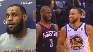 LeBron James Reacts To Chris Paul's Shimmy Dance On Stephen Curry!