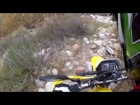 Dirt bike in a skate park crazy trail to natural hot springs and