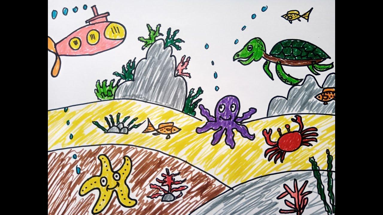 Dạy bé vẽ tranh và tô màu sinh vật biển-phong cảnh dưới đại dương-How to draw Ocean
