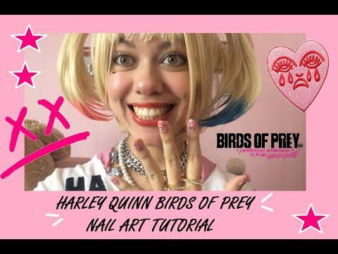 Harley Quinn Birds Of Prey Cosplay Nail Art Tutorial Youtube