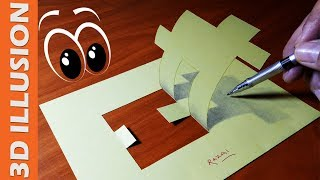 How to creat an amazing trick Art on paper, Impossible shape 3d illusion