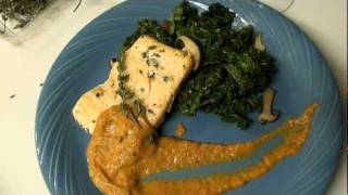 Tragik Ts' Arctic Char, Bell Pepper Coulis, & Sauteed Kale With Mushrooms (healthy)