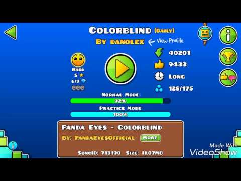 GEOMETRY DASH WORLD / DAILY LEVEL /COLORBLIND BY DANOLEX / DAVIAA GAMER
