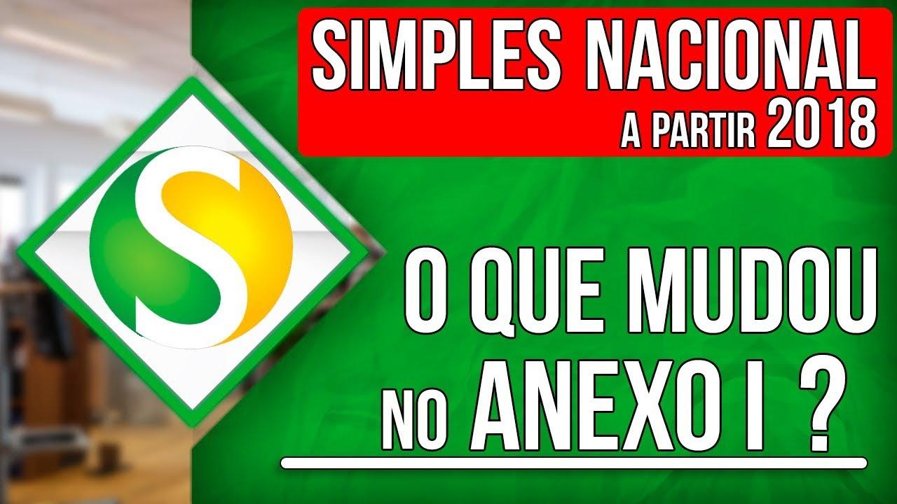 📅🗃 SIMPLES NACIONAL ANEXO I A PARTIR DE 2018 - YouTube