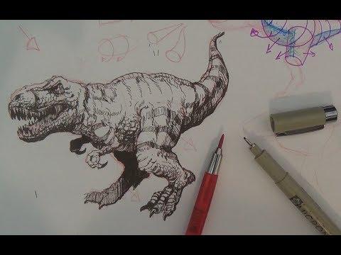 How to Draw a Tyrannosaurus Rex or T-rex Dinosaur