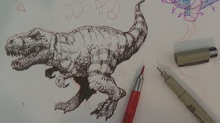 How to Draw a Tyrannosaurus Rex or T-rex Dinosaur