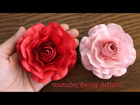 Easy Way To Make Realistic Paper Rose - Paper Flower - Paper Craft - DIY Flower