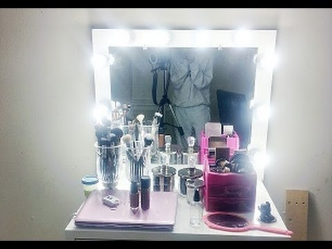 Diy lighted vanity mirror youtube mozeypictures