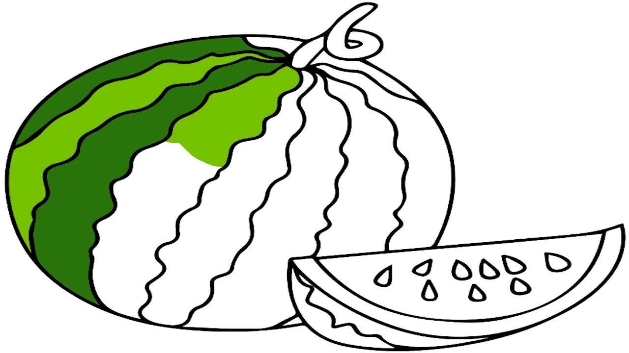 How to Draw Watermelon Coloring Pages Fruit And Coloring For Kids ...