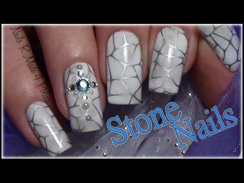 Stein Optik Nageldesign Mit Strass Stone Stamping Nail Art Design