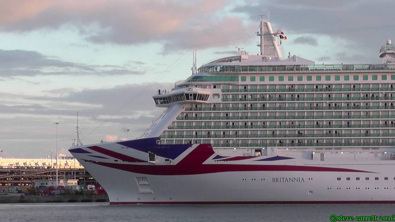 Pu0026O Cruises U0026quot;Britanniau0026quot; Reverse Departure Port Side Southampton 9th Oct 2016 - YouTube