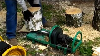 Дровокол с двигателем от стиральной машины. Сырая береза