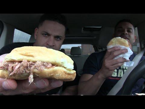 Eating Bojangles BBQ Pulled Pork Sandwich @Hodgetwins
