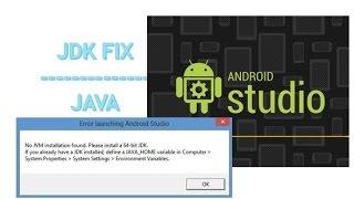 Java(JDK) fix : Android Studio Error | No JVM installation found | Set Environment Variables