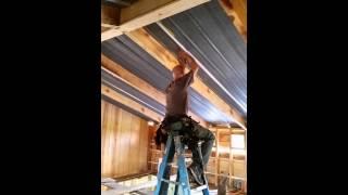 Installing Tin Metal Roof As Ceiling  Vol 3. Unedi